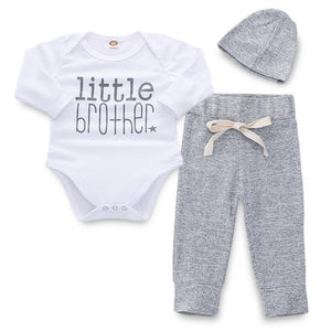 3-piece Little Brother Long Sleeve Bodysuit, Solid Pants With Hat Set - childbling