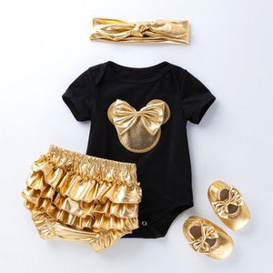 4-Piece Cartoon Printed Romper, Gold PP Short and Shoes with Headband Set - childbling