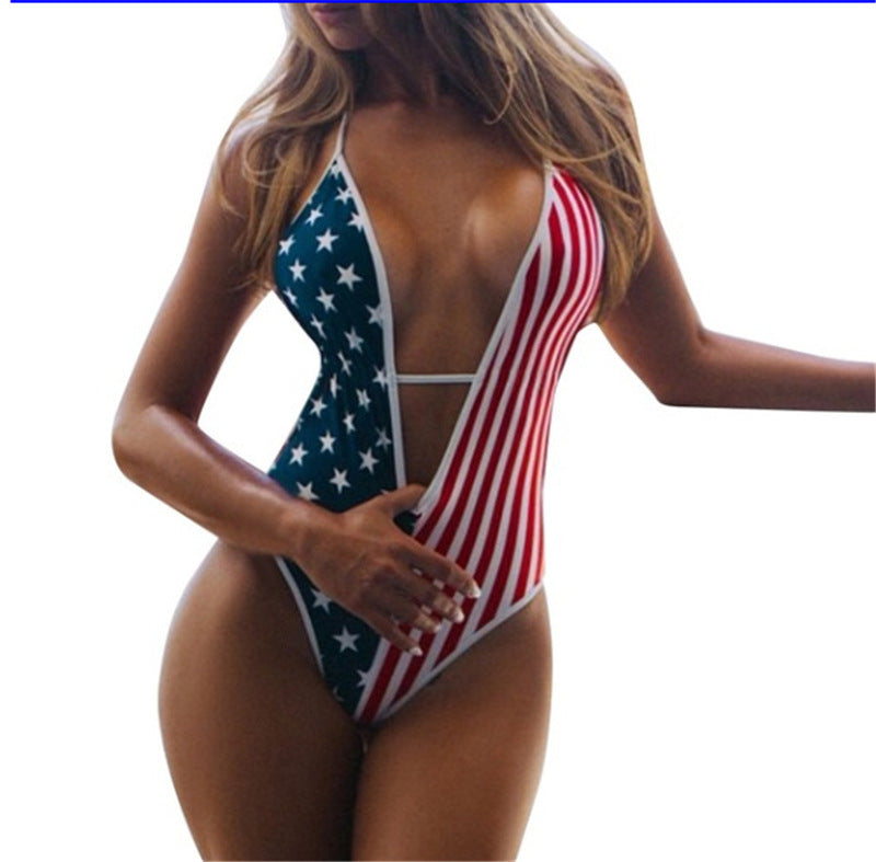Flag Print Bikini Deep V Strap Slim One-Piece Swimsuit