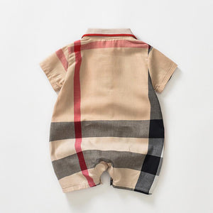 Adorable Short-sleeve Baby Bodysuit Gentleman's  striped romper - childbling