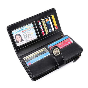 Elegant 24 Slots Womens RFID Wallets Large Capacity Leather Long Trifold Clutch Purse