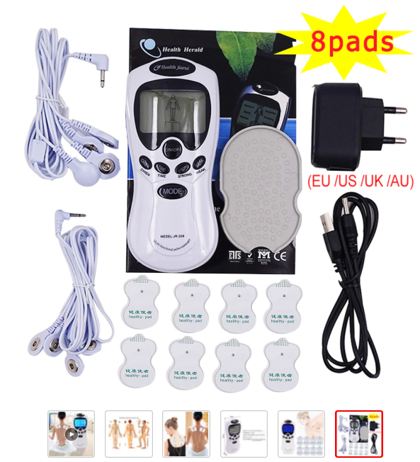 Beurha Electric herald Tens Acupuncture Body Muscle Massager Digital Therapy Machine 8 Pads For Back Neck Foot Leg health Care