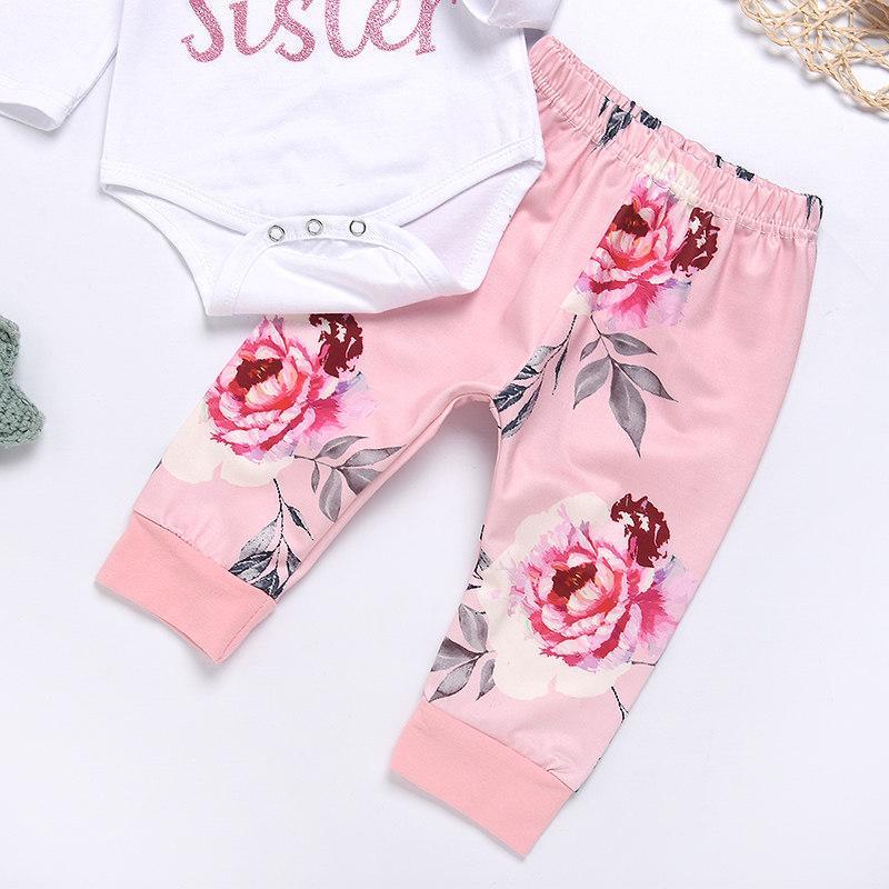 3-piece Little Sister Letter Long-sleeve Bodysuit, Floral Pants and Headband Set - childbling