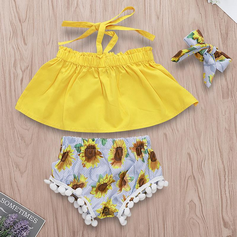 3-piece Sunflower Top Pompom Shorts with Headband Set - childbling