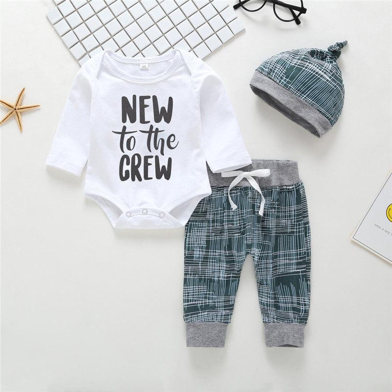3-piece New to the Crew Letter Long-sleeve Bodysuit, Pants and Hat Set - childbling