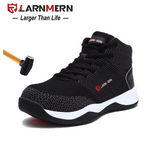 LARNMERN Mens Steel Toe Safety Work Shoes For Men Breathable