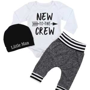 3-piece little man long sleeve white letters - childbling