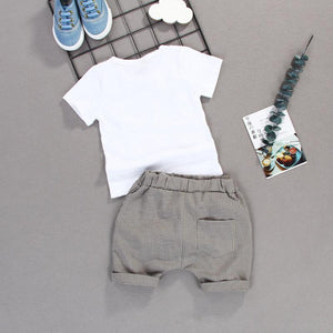 2-piece Gentlemen T-shirts With Bow-knot And Casual Shorts For Boys - childbling