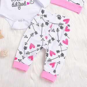 4-piece Arrow Letter Long-sleeve Bodysuit, Pants, Hat and Headband Set - childbling