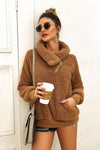 High Neck Solid Color Thick Plush Coat - zdbwani