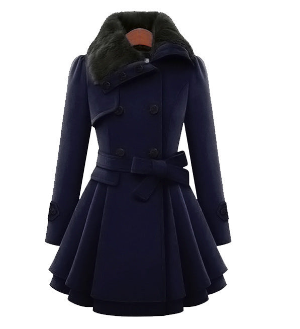 Women's Fashion  Lapel Double-Breasted Thick Wool Trench Coat Jacket