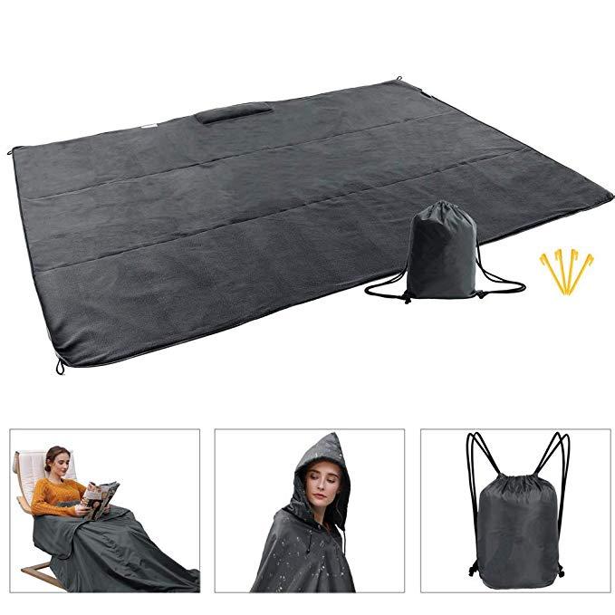 Fleece Outdoor Hooded Blanket Compact Portable Waterproof Windproof Multifunction Wearable Travel Picnic Sports Blanket Mat Rain Ponchos with Hood