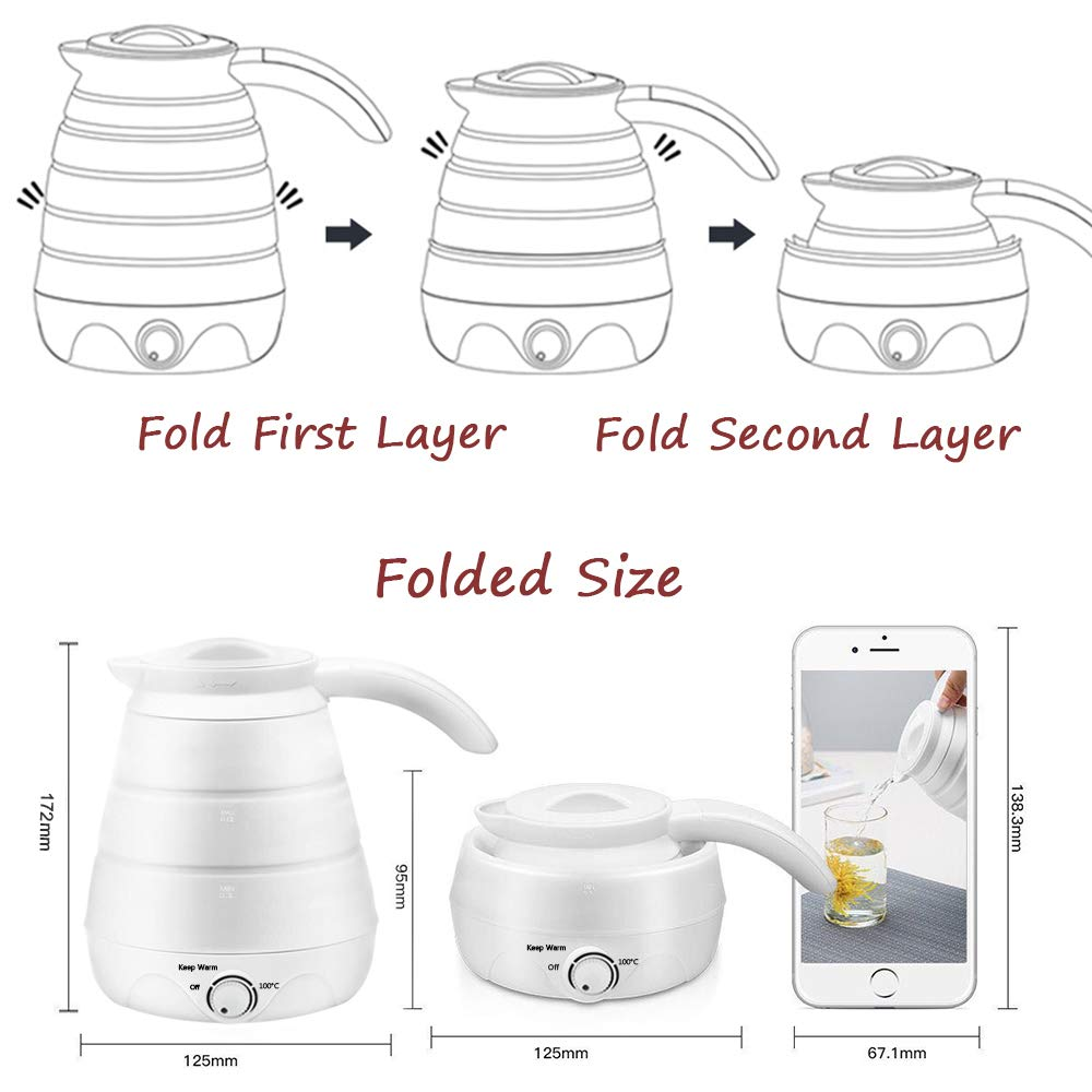Foldable Electric Water Kettle Food Grade Silicone Travel Collapsible Kettle 100V-240V Easy Storage 0.6L Capacity Boil Dry Protection