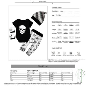 4 Piece Baby clothes skull short sleeve gloves striped - childbling