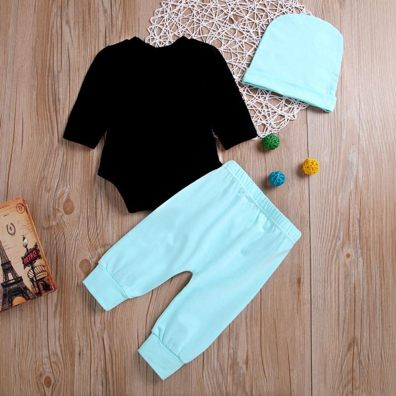 3-piece Letter Long Sleeve Bodysuit, Solid Pants With Hat Set - childbling