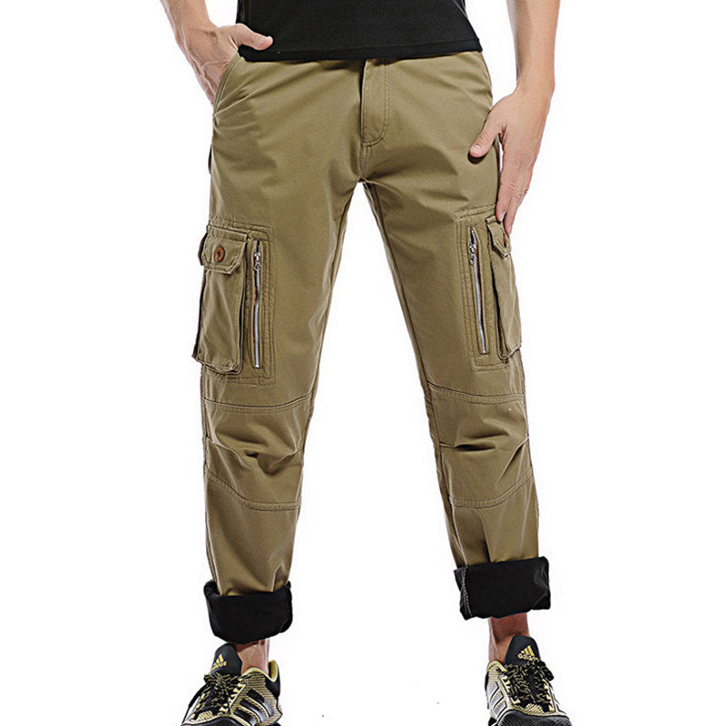 Mens Fleece Lining Thickened Outdoor Tactical Pants Multi Pockets Solid Color Casual Cargo Pants