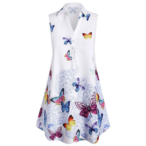 Plus Size Sleeveless Butterfly Print Blouse Shirt Top