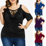 Plus Size Lace Cold Shoulder Short Sleeve  Pullover Tops