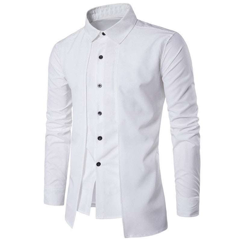 Long-sleeved Slim Solid Color Business Formal Casual Men's Shirt