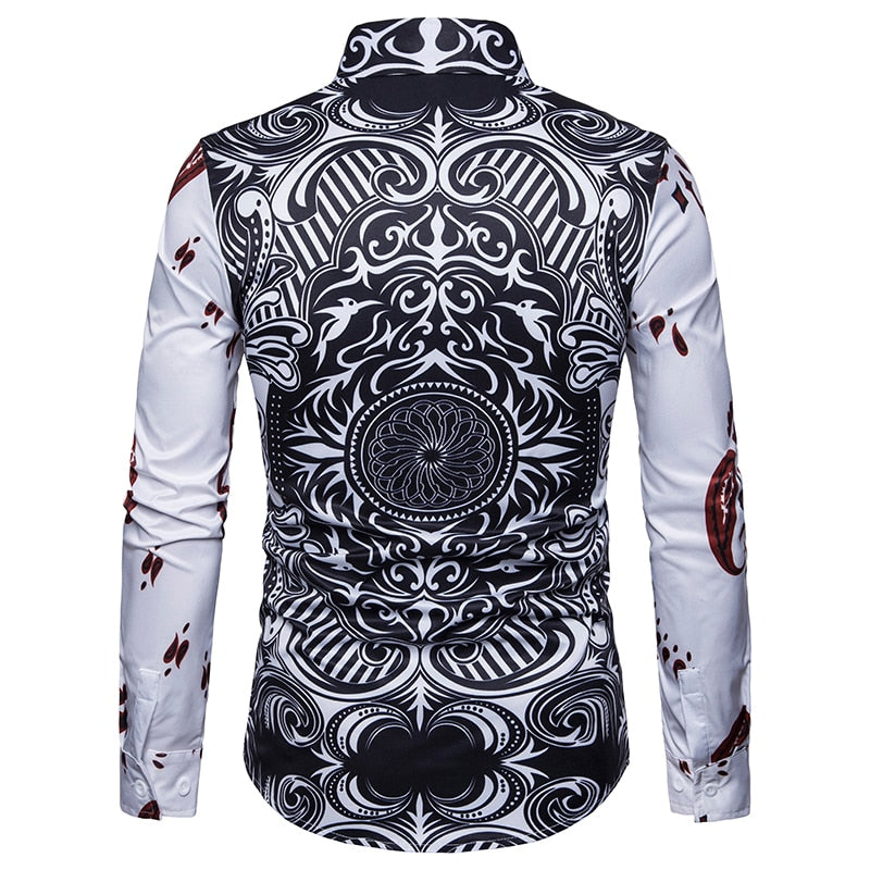 Mens Formal Business Shirts 3D Playing Card Printed