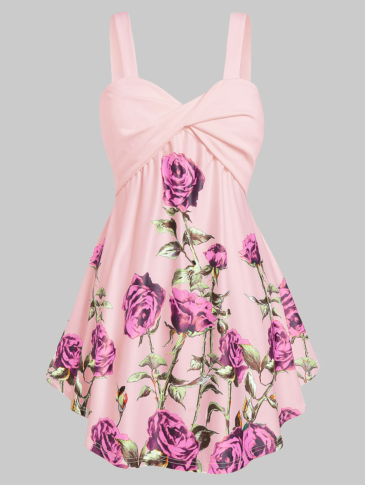 Plus Size Floral Print Flare Sleeveless Vests Sweetheart Neck Sexy Tops