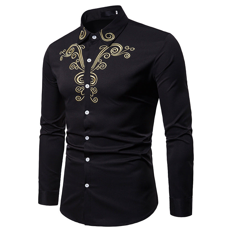 Long Sleeves Tops Embroidery Cotton Shirt For Men