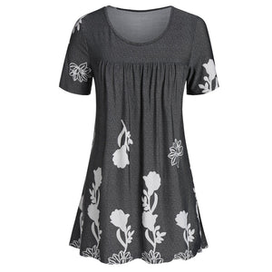 Plus Size Tunic Short Sleeve Ladies Tops