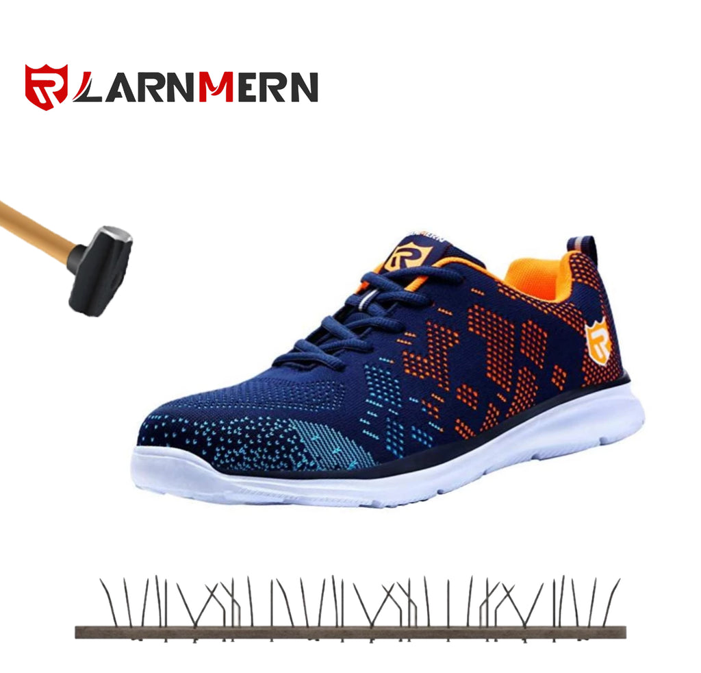 LARNMERN Work Shoes Steel Toe Shoes Work Sneakers Anti-Piercing Light Weight and Breathable