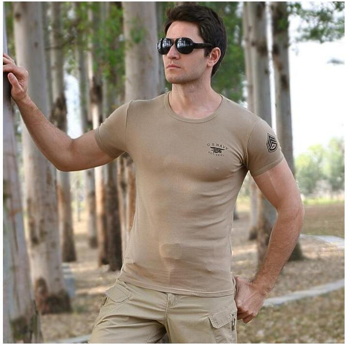 Casual Cotton Round Neck Military Men T-shirt