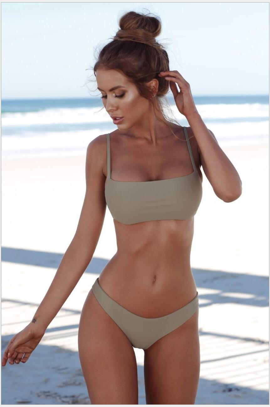 Solid Stretchy Bikini Set Sexy Swimwear