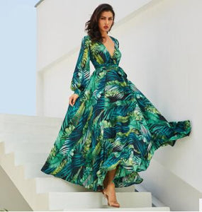 Summer Lantern Sleeve V-neck Green Leaf Print Skirt
