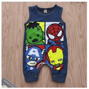 Cartoon Super Hero Sleeveless Bodysuit for Babies