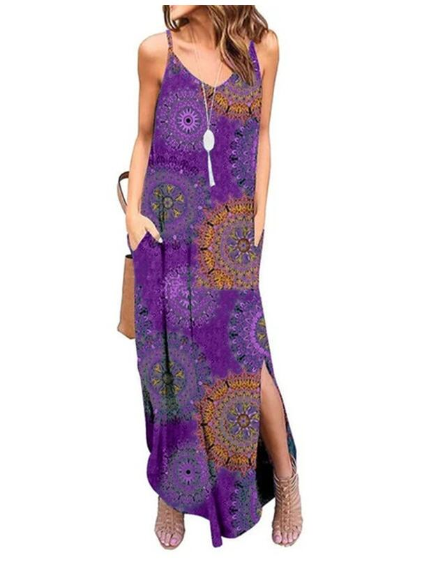 Women's Summer Dress Casual Loose Beach Cover Up Long Plain Print Cami Maxi Dresses with Pocket