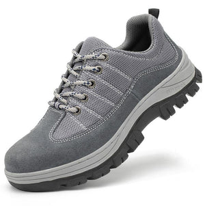 Breathable, deodorant, anti-smash, anti-piercing, leather mesh, safety shoes, steel toe safety shoes