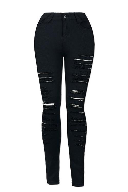 High Waist Distressed Jeans Stretchy Trousers - zdbwani