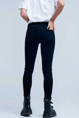 Black skinny jeans leopard side stripe