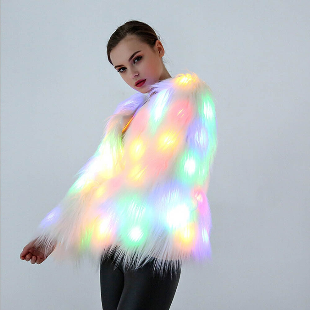 LED Light Fur Coat Women Rainbow Sparkly Light Up Jacket White Furry Costume Christmas Costumes Cosplay Fluffy Fur Jacket