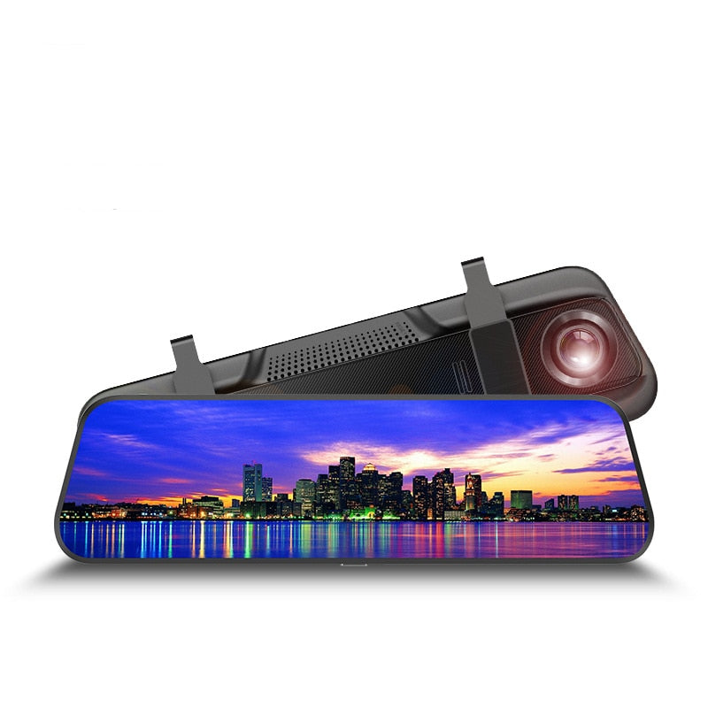 Double-recording High Definition Night Vision Recorder 1080P 10 inch full touch screen rearview mirrorRecorder 2019