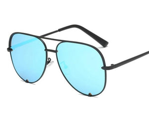 Black Gradient Sunglasses Silver Mirror Metal Sun Glasses