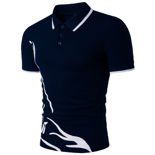 Short-Sleeved Casual Slim Solid Color Polo Shirt