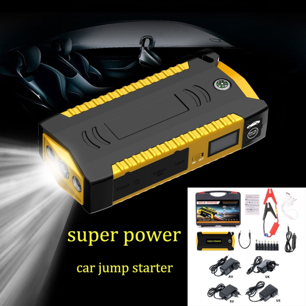 Waterproof Multifunction Car Jump Starter 12V 4USB 600A Portable Car Battery Booster Charger Power Bank Start Device