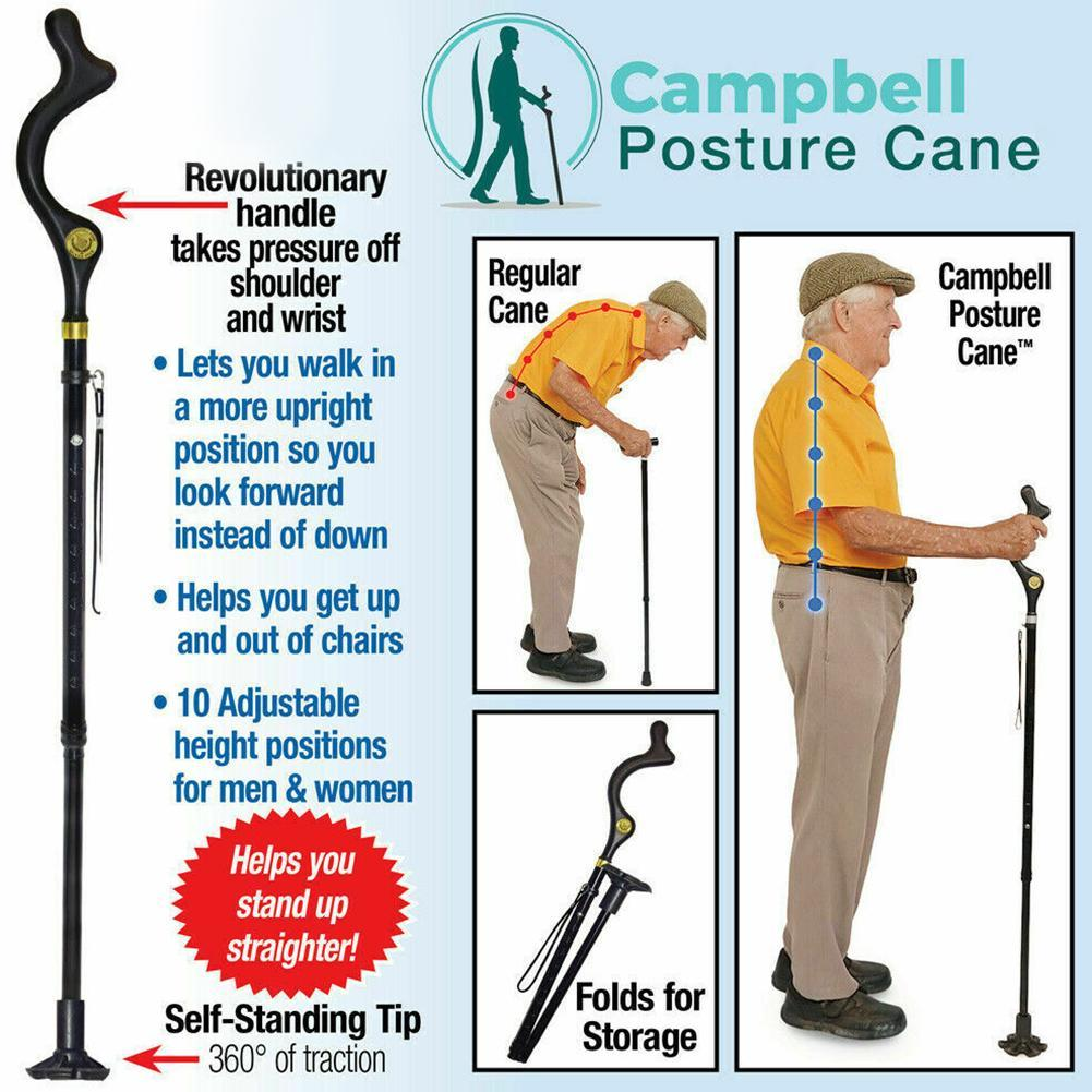 Safety Elderly Walking Stick Telescopic Canes Crutch Staff Folding Grip Hiking Walk Mens posture cane hiking poles crutches