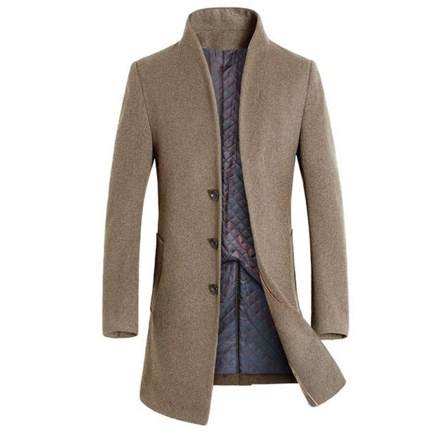 Fashion Men's Slim Fit Faux Wool Casual Long Trench Coat