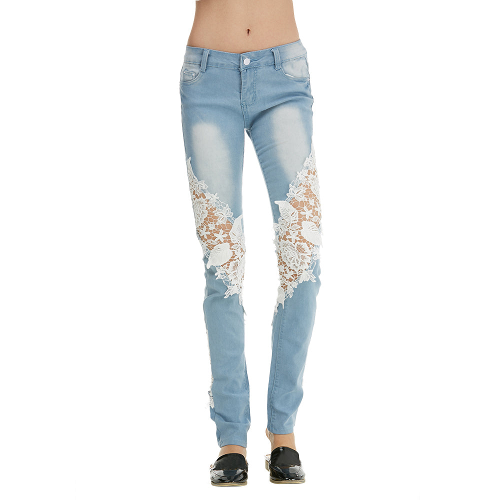 Light-colored jeans side lace stitching denim trousers