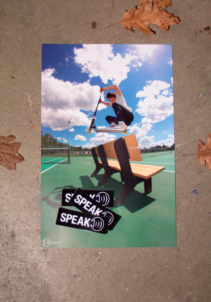 """Ben Bursell Hops A Bench"" Poster & Sticker Combo"