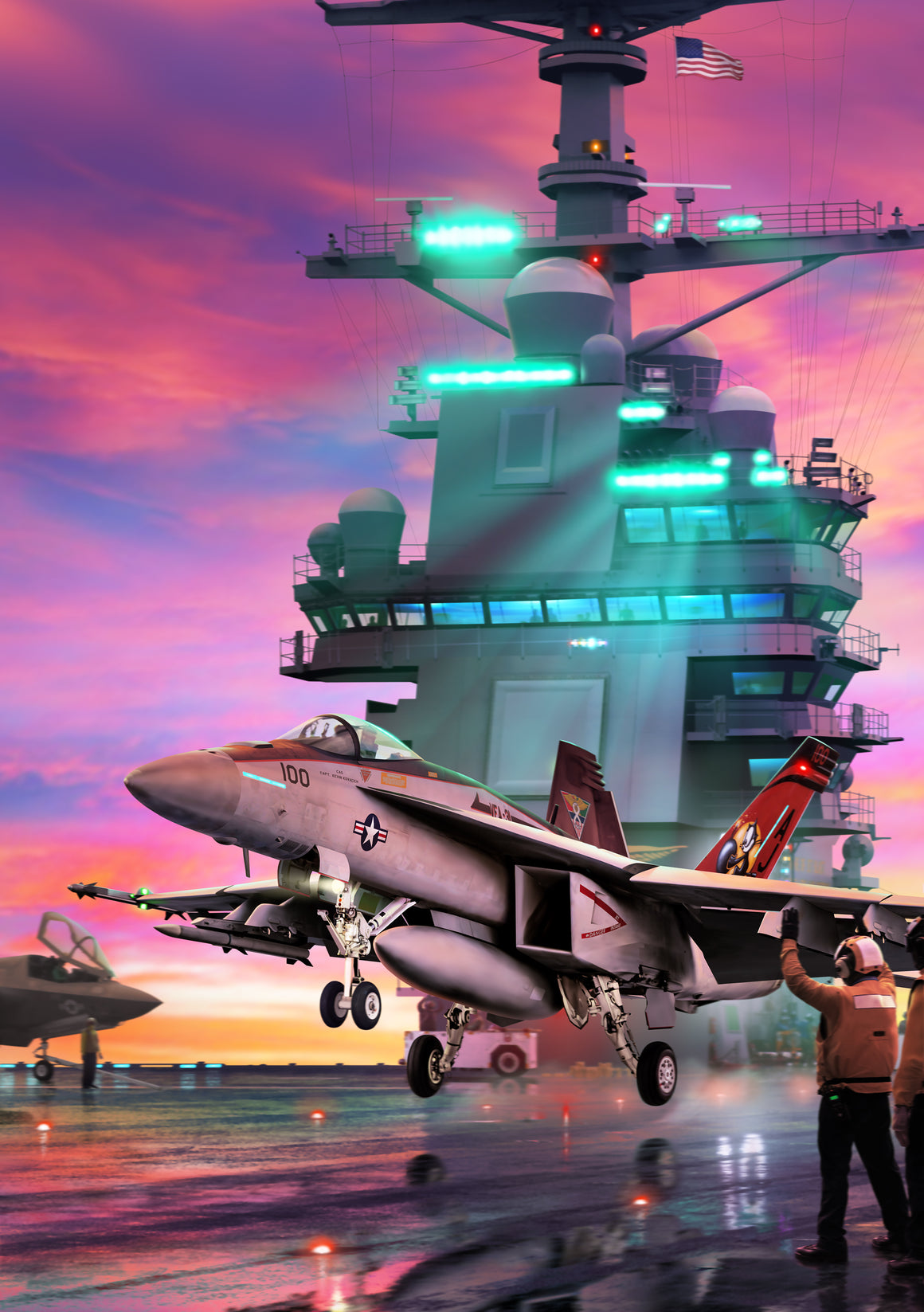F/A-18E Super Hornet of VFA 31 on the USS Gerald R. Ford, by Ron Cole