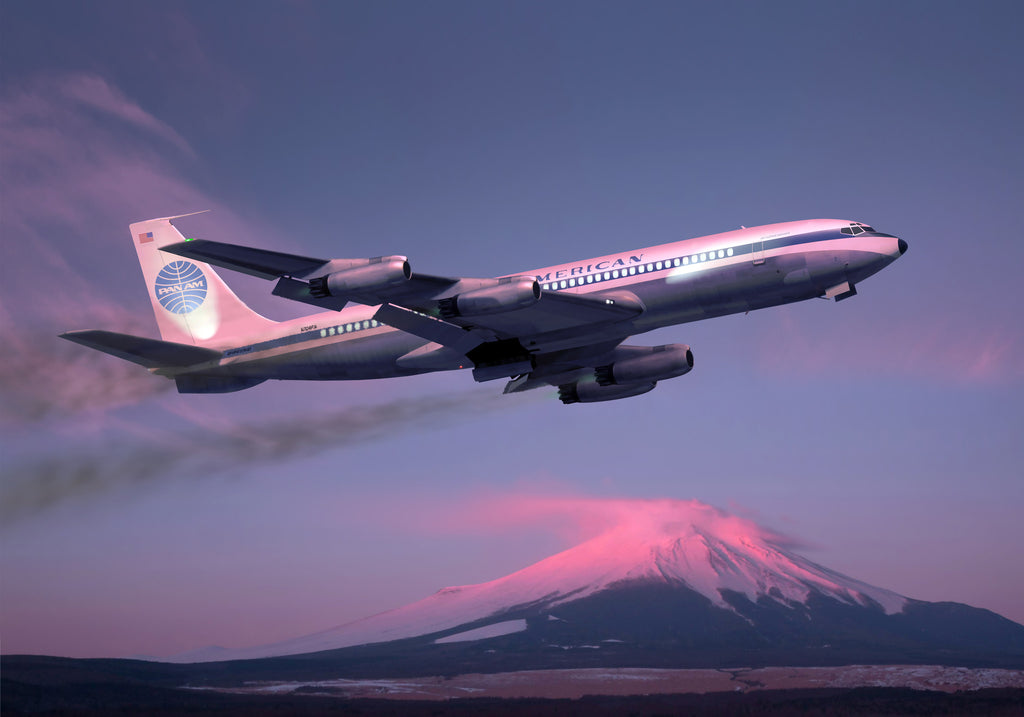 Pan Am Boeing 707 over Mount Fuji, Japan - Cole's Aircraft - 1