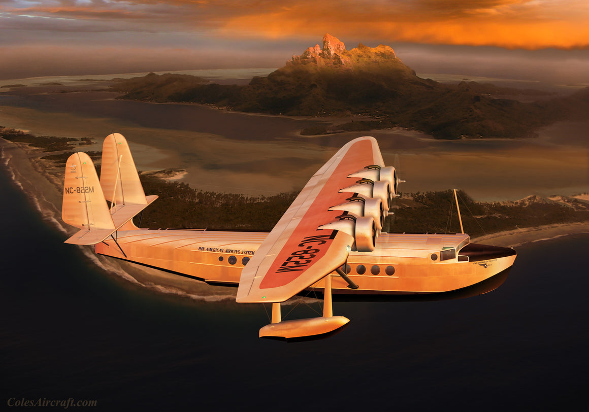 Pan Am Clipper Sikorsky S-42 over Bora Bora - Cole's Aircraft - 1