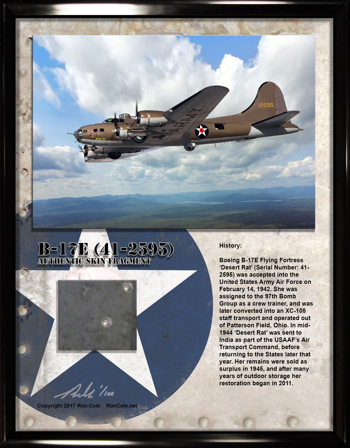 Boeing B-17E Flying Fortress (41-2595) 'Desert Rat' Relic Display