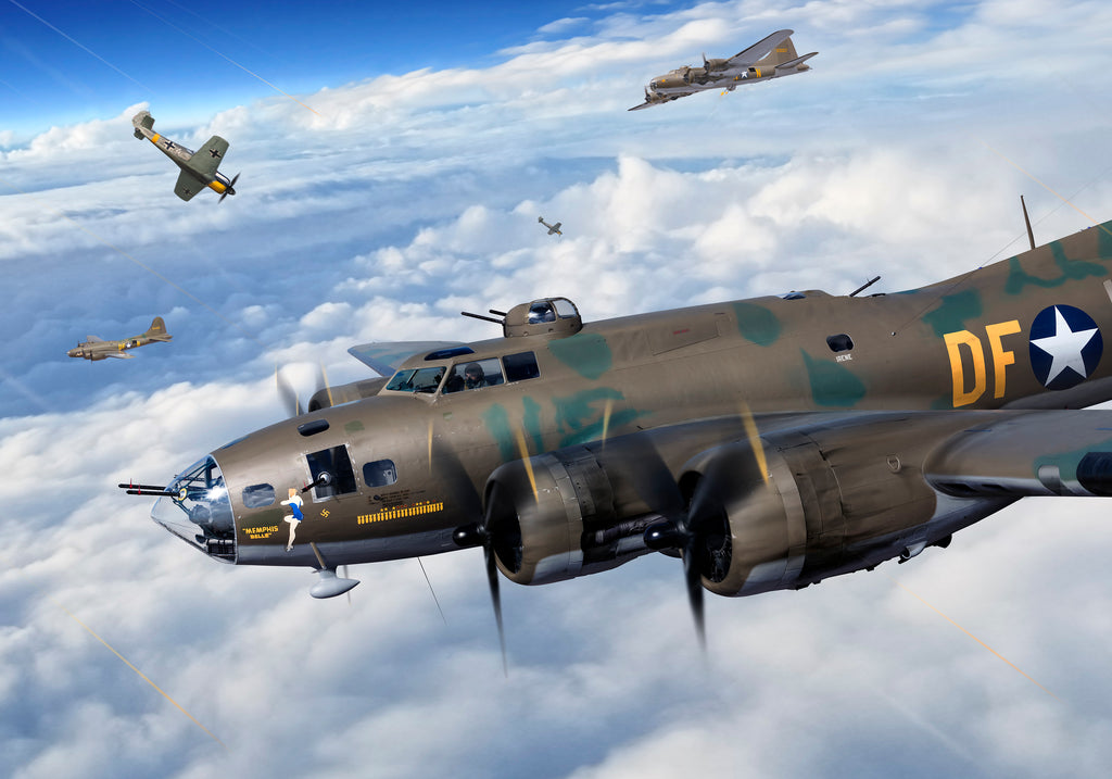 Boeing B-17F 'Memphis Belle' Rain of Lead, Signed Art Print by Ron Cole